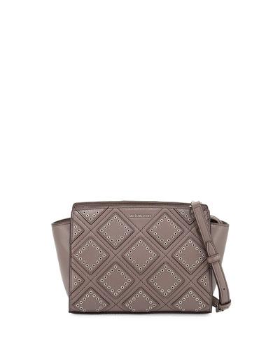 Selma Medium Diamond-Grommet Messenger Bag, Cinder
