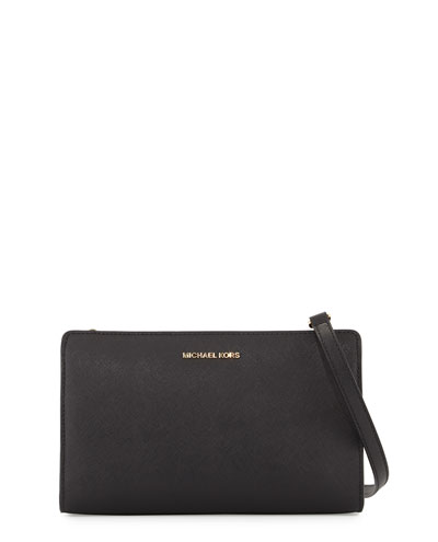 Jet Set Travel Large Flap Crossbody Clutch Bag, Black