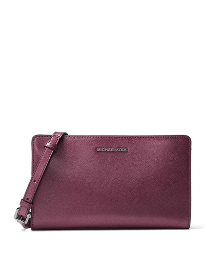 Jet Set Travel Large Crossbody Clutch Bag, Plum