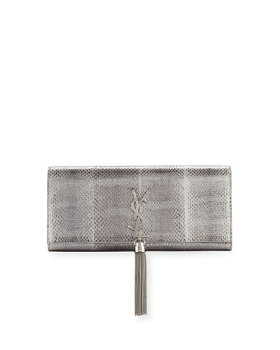 Kate Monogram Tassel Clutch Bag, Silver