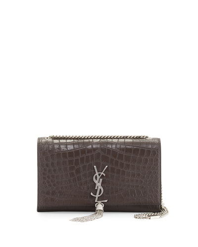 Kate Monogram Medium Leather Tassel Shoulder Bag, Dark Anthracite