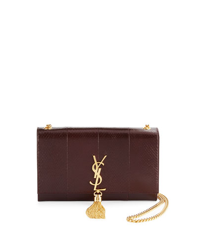 Kate Monogram Medium Python Tassel Shoulder Bag, Bordeaux