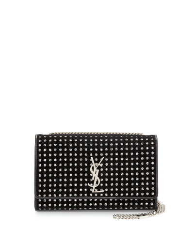 Monogram Medium Glitter-Dot Velvet Crossbody Bag, Black