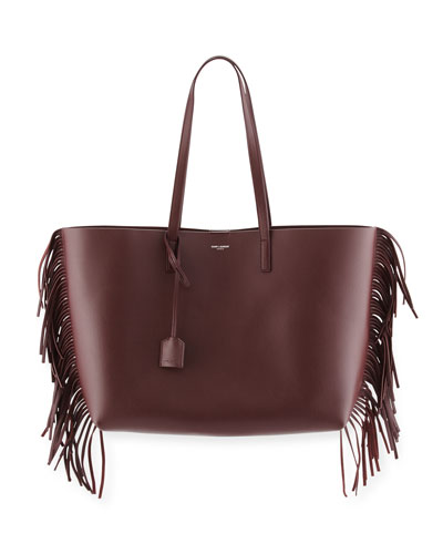 Large Calfskin Fringe Shopping Tote Bag, Bordeaux