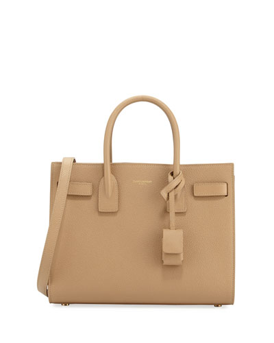 Sac de Jour Baby Grained Leather Satchel Bag, Beige
