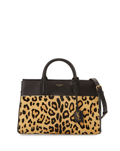 Cabas Rive Gauche Small Calf-Hair Tote Bag, Naturale/Black