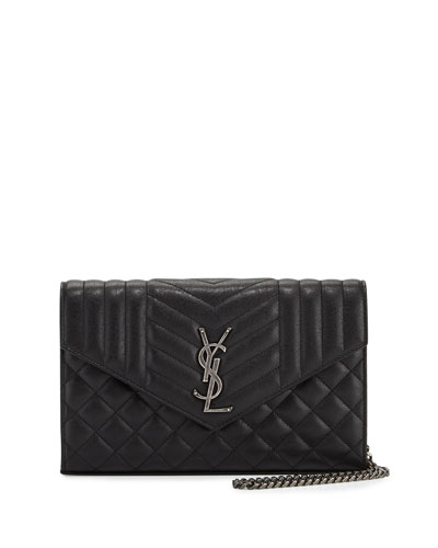 Monogram Tri-Quilted V-Flap Wallet-on-Chain, Black