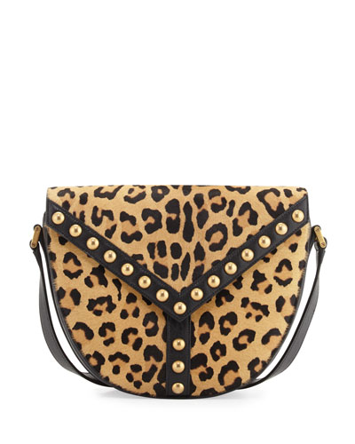 Y Studs Leather Crossbody Bag, Black/Leopard