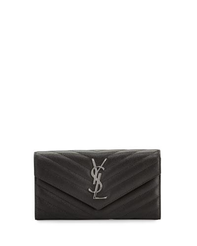 Monogram Leather Large Flap Continental Wallet, Dark Anthracite