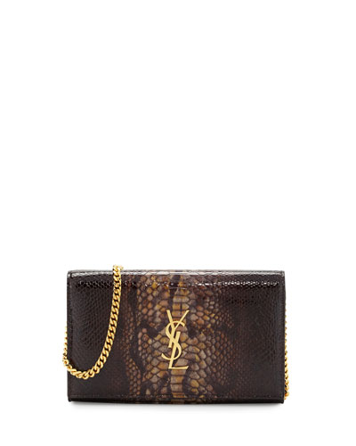 Monogram Medium Python-Embossed Wallet-on-Chain Bag, Black/Khaki