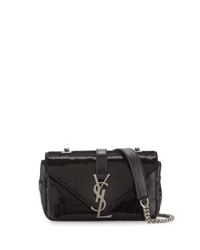 Monogram Baby Sequined Crossbody Bag, Black