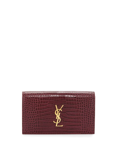 Kate Monogram Small Crocodile-Embossed Clutch Bag, Rose