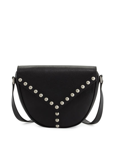 Y Studs Leather Crossbody Bag, Black