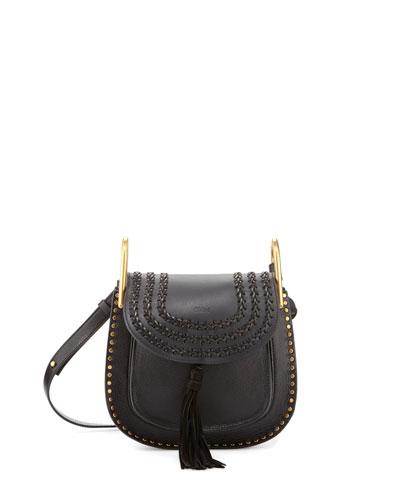 Hudson Small Leather Shoulder Bag, Black