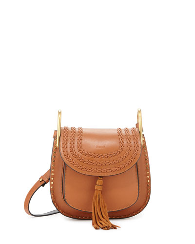 Hudson Small Leather Shoulder Bag, Caramel