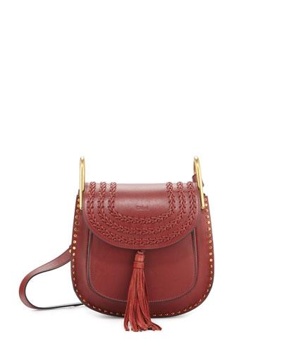 Hudson Small Leather Shoulder Bag, Sienna