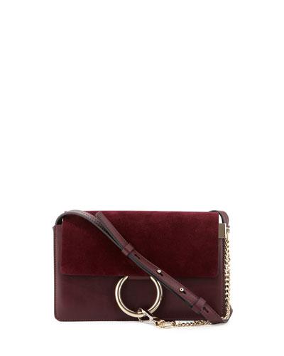 Faye Small Suede Shoulder Bag, Dark Purple