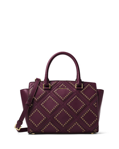 Selma Medium Diamond-Grommet Satchel Bag, Plum