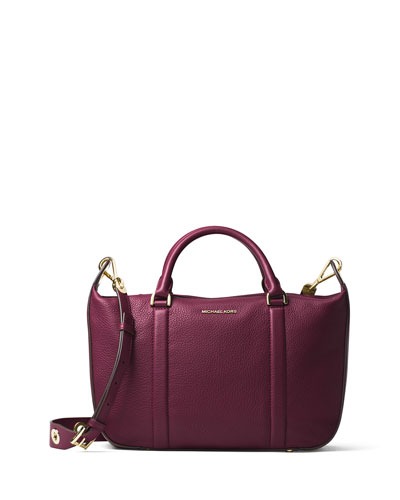 Raven Large Leather Satchel Bag, Plum