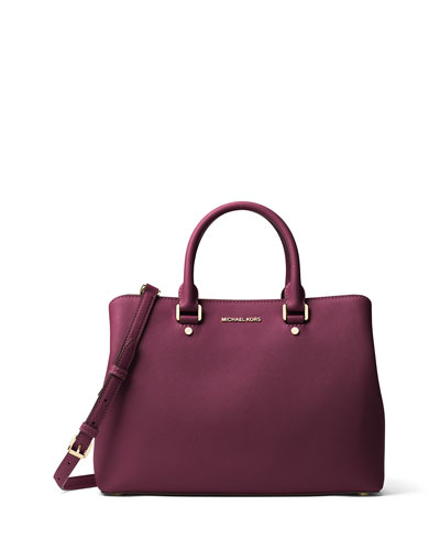 Savannah Large Saffiano Satchel Bag, Plum