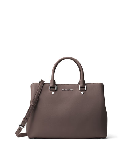 Savannah Large Saffiano Satchel Bag, Cinder