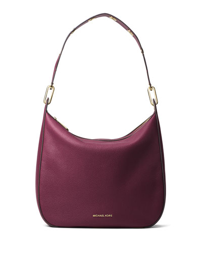 Raven Large Leather Shoulder Bag, Plum