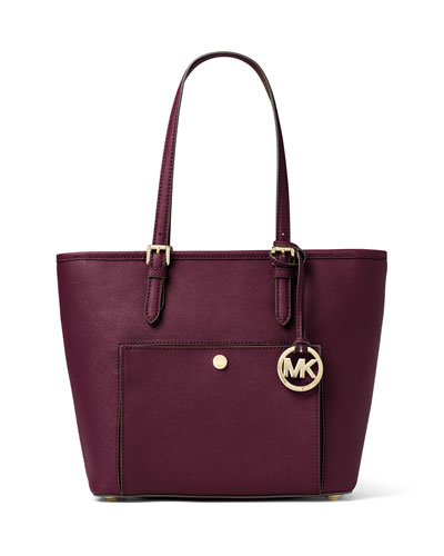Jet Set Item Medium Saffiano Tote Bag, Plum