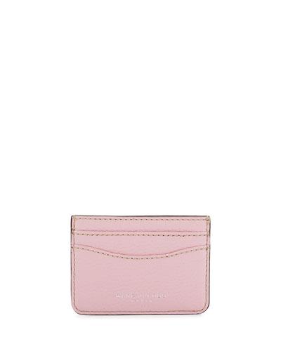 Gotham Leather Card Case, Pink Fleur