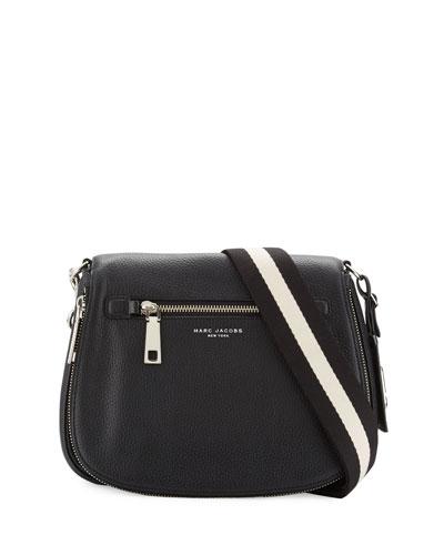 Gotham Leather Saddle Bag, Black