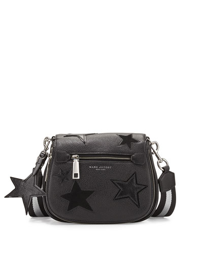 Star Patchwork Small Saddle Bag, Black/Multi