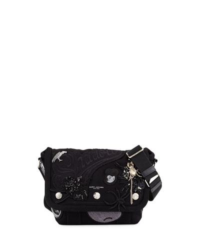 Rummage Small Embellished Messenger Bag, Black