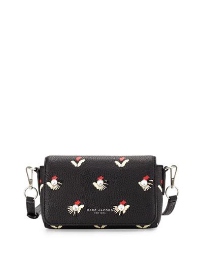 Embellished Tulip-Print Crossbody Bag, Black/Multi