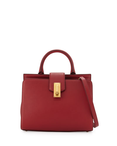 West End Small Top-Handle Satchel Bag, Deep Maroon