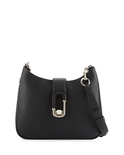 Interlock Leather Hobo Bag, Black