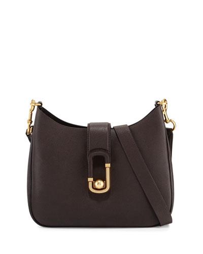 Interlock Leather Hobo Bag, Mahogany