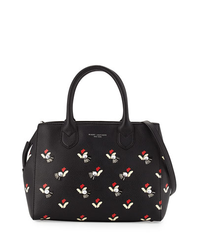 Embellished Tulip-Print Gotham Tote Bag, Black/Multi