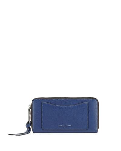 Recruit Leather Continental Zip Wallet, Dark Blue