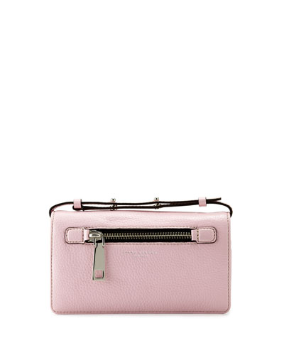 Gotham Leather Crossbody Wallet, Pink Fleur