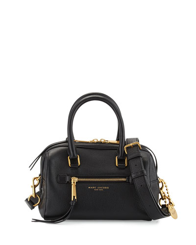Recruit Small Leather Bauletto Bag, Black