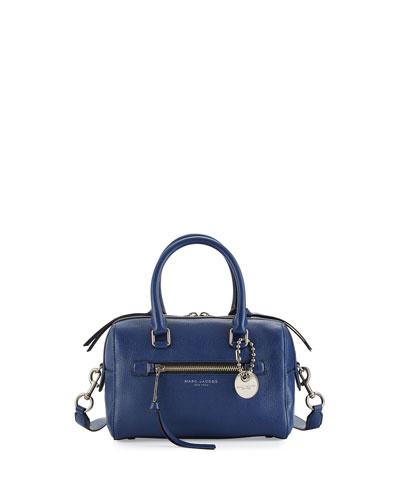 Recruit Small Leather Bauletto Bag, Dark Blue