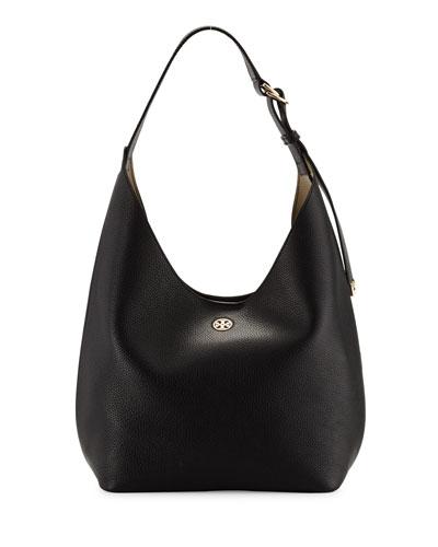 Perry Leather Hobo Bag, Black/Beige