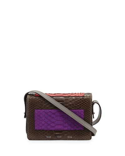 Pulce Matte Python Crossbody Bag, Turquoise/Pink/Purple