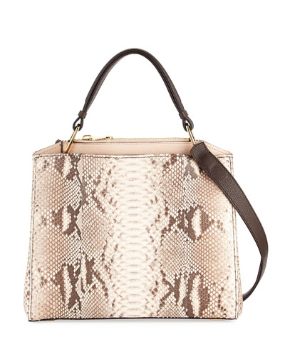 Seven Python & Vitello Tote Bag, Cream/Brown/Natural