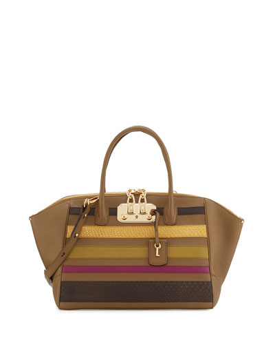 Brera 34 Vitello & Python Striped Satchel Bag, Nut/Brown/Yellow/Green/Pink