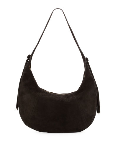 Zoe Large Suede Hobo Bag, Black