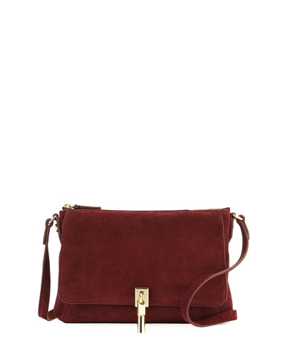 Cynnie Suede Micro Crossbody Bag, Bordeaux
