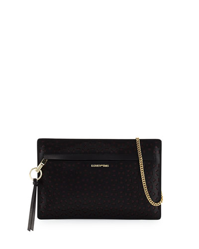 James Mini Laser-Cut Zip Crossbody Bag, Black/Wine