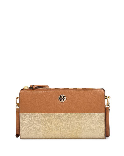 Perry Colorblock Wallet Crossbody Bag, Bark/Gold