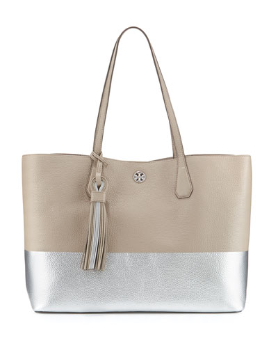 Perry Colorblock Leather Tote Bag, French Gray/Silver