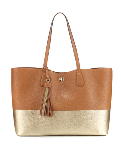 Perry Colorblock Leather Tote Bag, Bark/Gold